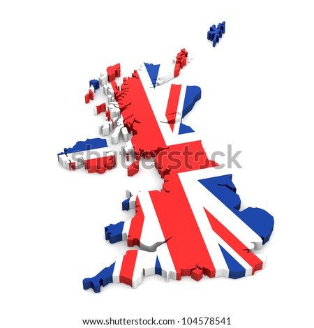 UK 3d map covered by the UK Flag