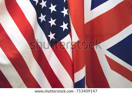UK flag and USA Flag . Relations between countries . #753409147