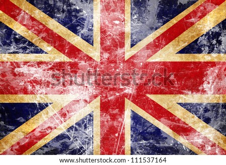 uk flag with a vintage and old...