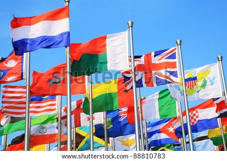 UK flags and national flags all over the world