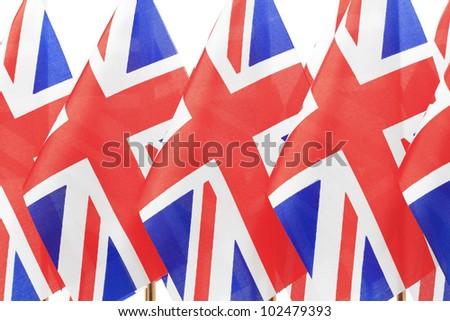 UK flags hanging on the gold flagstaff, Isolated on the white background