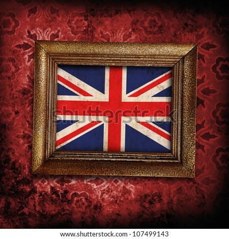 UK framed flag on grunge background