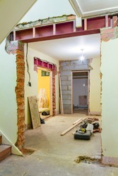 UK house internal renovation and remodeling with new wall opening