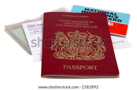 UK identification papers - passport, medical card, driving license, NI card, isolated on white background.