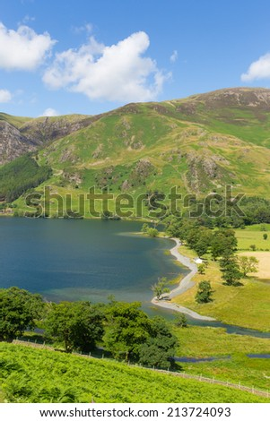 UK lake District Buttermere The Lakes Cumbria England uk on a beautiful sunny summer day mountains and fells