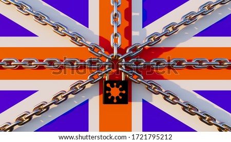 UK lockdown concept. Including with UK flag, chain, Key lock and coronavirus. Lockdown were issued in the COVID-19 pandemic. Resulted in an economic crisis i.e. travel, transport, food and shopping.