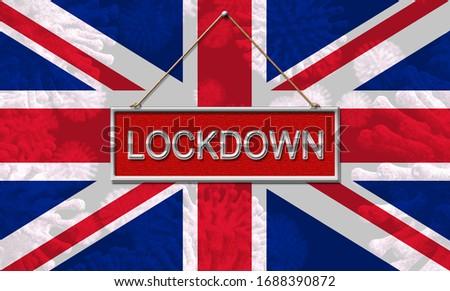 UK lockdown emergency preventing coronavirus spread or outbreak. Covid 19 United Kingdom precaution to lock down virus infection - 3d Illustration Stock fotó ©
