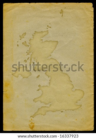 UK map with flag inside engraved on a old paper page clipping path of the map is included
