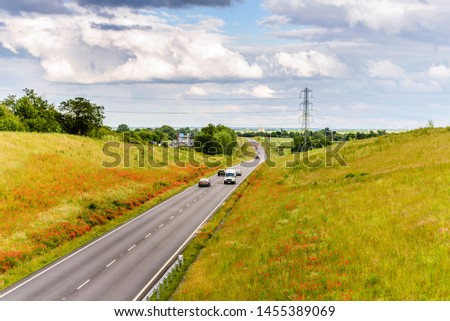 uk motorway road overhead view at daylight #1455389069