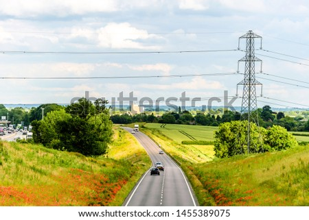 uk motorway road overhead view at daylight #1455389075