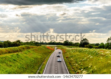 uk motorway road overhead view at daylight #1463470277