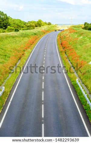 uk motorway road overhead view at daylight #1482293639
