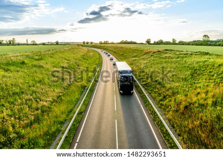 uk motorway road overhead view at daylight #1482293651