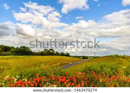 uk motorway road with poppies in foreground view at daylight #1463470274