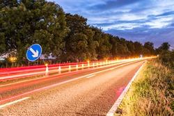UK Motorway Roadworks Sign at Night