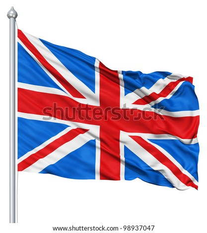 UK national flag waving in the wind