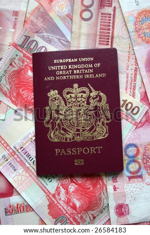 UK passport on Hong Kong dollars