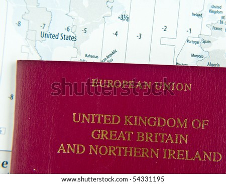 UK passport on world map with time zones