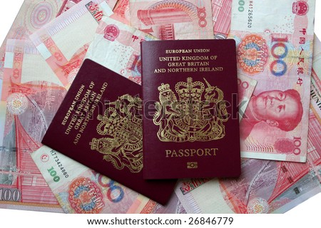 UK passports on Chinese yuan