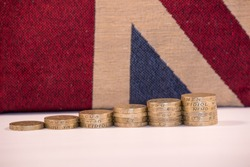 UK Pound Coins on Union Jack Background