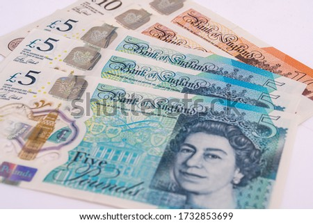 UK pound,money of United kingdom close up on white, Pound UK note