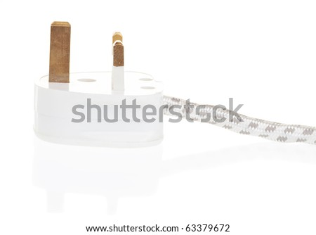 UK power plug isolated with clipping path with reflections
