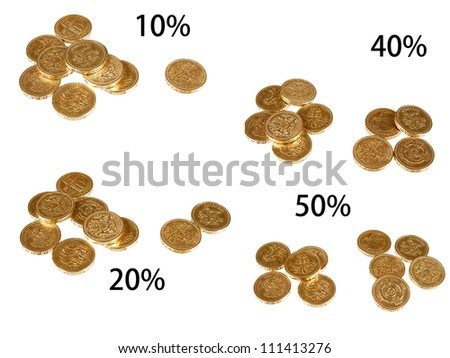 UK taxation percentages, coins isolated over white