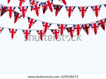 UK Union Jack flag festive bunting against a plain background. 3D Rendering #629038673