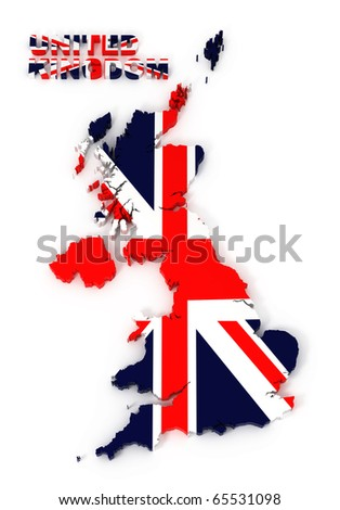 UK, United Kingdom map with flag, isolated on white with clipping path, 3d illustration