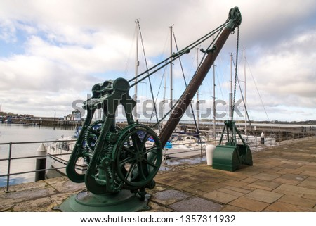 UK, Wales, Gwynedd, Caernarfon, Victoria Dock, old dockside crane. Photo taken on 4th of February 2019