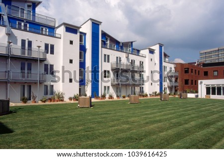 UK, Wiltshire, Swindon, colourful modern style apartment block