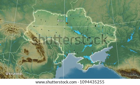 Ukraine area on the topographic relief map in the stereographic projection - main composition