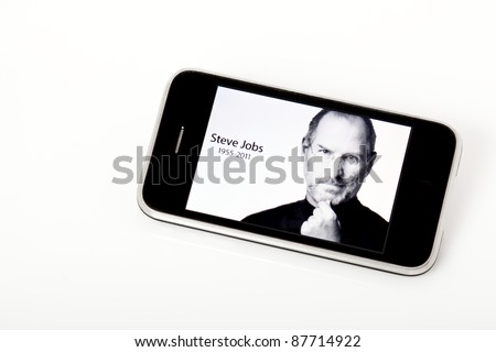 UKRAINE, CRIMEA - OCT 6: The Apple site pays tribute to CEO Steve Jobs, who died on Oct 5, 2011, with a photo on the site.  Shown here on an iPhone on Oct 6, 2011.