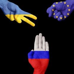 Ukraine European Union Russia rock-paper-scissors