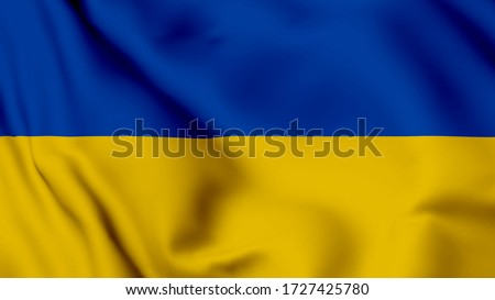 Ukraine flag is waving 3D animation. Ukraine flag waving in the wind. National flag ofUkraine. flag seamless loop animation. 4K Foto stock ©