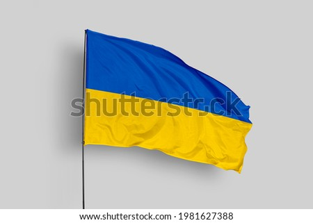Ukraine flag isolated on white background with clipping path. flag symbols of Ukraine. Ukraine flag frame with empty space for your text.  Foto stock ©