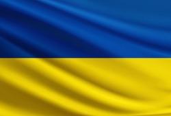 Ukraine flag with fabric texture