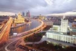 Ukraine Hotel, Moskva River and Russian government building at evening in Moscow, Russia.