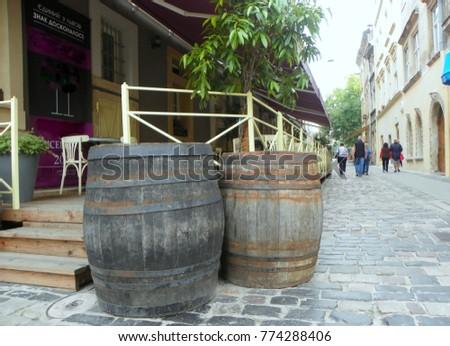 Ukraine, Lviv, wine barrels on the streets of the city #774288406