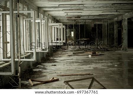 Ukraine, Pripyat. These corridors still remember children's laughter #697367761