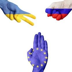 Ukraine Russia European Union rock-paper-scissors