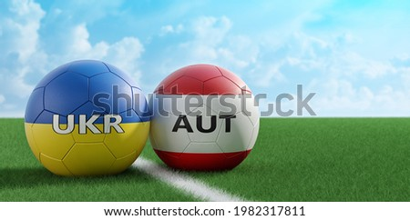 Ukraine vs. Austria Soccer Match - Leather balls in Ukraine and Austria national colors on a soccer field. Copy space on the right side - 3D Rendering
