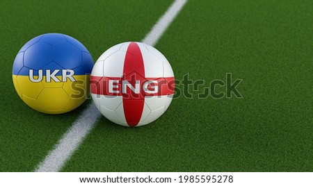 Ukraine vs. England Soccer Match - Leather balls in Ukraine and England national colors on a soccer field. Copy space on the right side - 3D Rendering  Foto stock ©