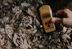 UKRAINE. Yellow Geiger counter in the Chernobyl exclusion zone. Radiation indicators in the exclusion zone