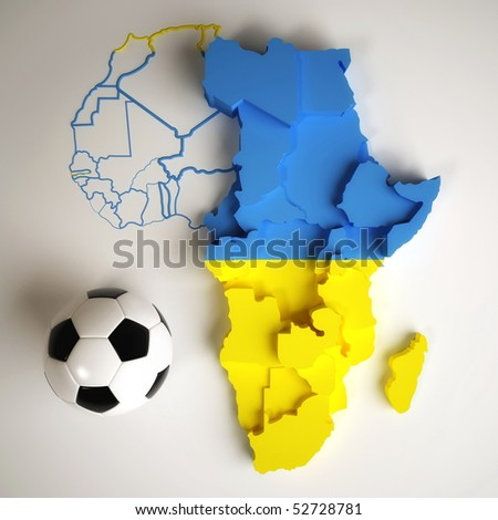Ukrainian African flag on map of Africa with national borders