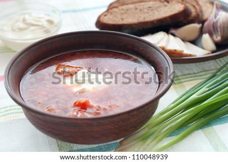 Ukrainian and russian national red borsch