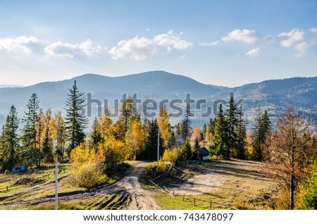 Ukrainian Carpathian Mountains in the autumn season - Shutterstock ID 743478097