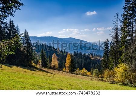 Ukrainian Carpathian Mountains in the autumn season - Shutterstock ID 743478232