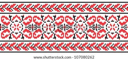 Ukrainian cross-stitch red and black pattern
