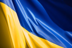 Ukrainian flag waving on the wind